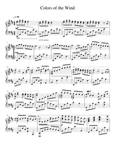 Follow the link for free printable sheet music: Colors of the Wind - Piano Solo. MuseScore.com