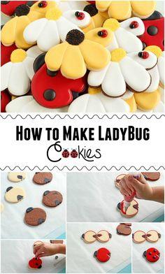 How to Make Daisy Cookies & Ladybug Cookies - via www.thebearfootbake.com