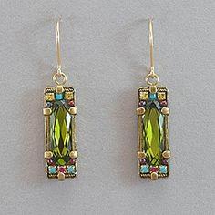 Firefly Rectangular Crystal Earrings - Olivine
