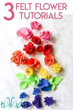 Tutorial showing How to make three easy types of flowers out of felt. Use to embellish headbands, giftwrap, and more. Tutorial showing How to make three easy types of flowers out of felt. Use to embellish headbands, giftwrap, and more. Felt Flowers Patterns, Fabric Flowers, Paper Flowers, Felted Flowers, Diy Ribbon Flowers, Felt Roses, Felt Flower Template, Ribbon Flower Tutorial, Bow Tutorial