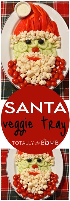 Want to see them spend more time eating veggies and less time at the sweets table? Perfect for classroom Christmas parties, holiday potlucks, and family movie nights! || Santa Veggie Tray via Totally the Bomb || Vegetable Platters for Kids: 10 Christmas Party Platters! || Letters from Santa Holiday Blog