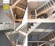 PROJECT VAN WEEK 14! Stijlvol combinatie project van RVS en glazen balustrades. Tevens een verlichte RVS trapleuning met LED accu en sensoren. #Lumigrip