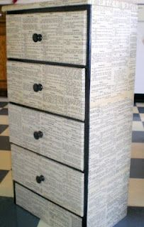 This dresser was redone with just modge podge, black paint and an old dictionary.