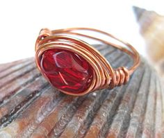 Ruby red ring copper or silver cocktail ring by SunshineDaydreamz, $10.00