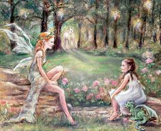 "I painted this picture for a little girl's room. My hope is to encourage her gift of imagination ""FANTASY FOUND"" print and canvas of original painting of original painting by Laurie Shanholtzer - Title by Author John W Charpentier *here your friend is a wood nymph ~ your puppy is a dragon ~ butterflies are fairies and there is a unicorn peaking from behind a tree.*"