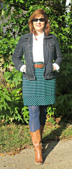 Jean Jacket , White blouse and Striped skirt Over 40 Petite Blogger Versatile Style by Tracey