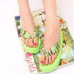 Cool Summer Flip-Flops Womens Shoes Sandals Slippers High Platform Beach Shoes Zebra Color Bath Shoes T928Z