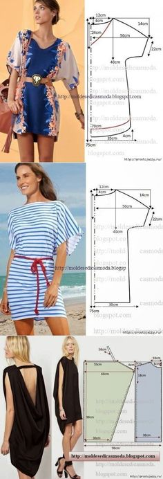 Летние платья - выкройки на любой вкус aufbewahrung garten kleidung kosmetik wohnen it yourself clothes it yourself home decor it yourself projects Sewing Dress, Dress Sewing Patterns, Diy Dress, Sewing Clothes, Clothing Patterns, Kimono Dress, Shirt Dress, Pattern Sewing, Kimono Style