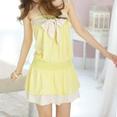 $9.01 Sweet and Cute Candy Color Strapless Dress For Women