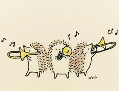 Hedgehog musical trio - cute hedgehog artwork series by Nami Nishikawa
