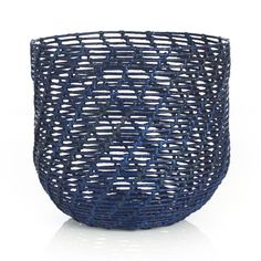 "Caitlin Blue Round Basket Abaca & Rattan  15.5""Wx15.5""Dx17.5""H  