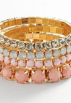 Candie's Gold Tone Crystal Bracelet Set