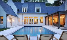 Awesome Backyard Patio Ideas With Beautiful Pool - A backyard recreation area can be made more enjoyable with a functional and attractive design. With the right design around the pool area, the space c. U Shaped House Plans, U Shaped Houses, Pool House Plans, Courtyard Pool, Pool Cabana, Castle House, Beautiful Pools, Dream House Exterior, Pool Houses