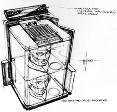 Blade Runner Holo/Message Unit Sketch by Syd Mead