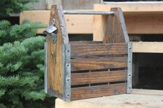 Rustic Wood Beer Caddy Six Pack Holder Soda Carrier by CRmade