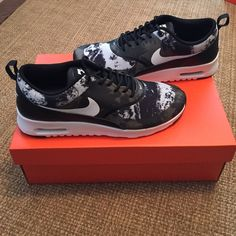 Nike Air Max Thea Womens Nike Air Max, black and white camo print = really cute! **Smaller size 9, may be closer to 8.5. **  NEW in Nike box Nike Shoes Athletic Shoes