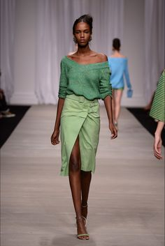 Spring 2015 Ready-to-Wear - Ermanno Scervino -- Emerald green, loose knit, v-nack jumper / sweater with a knee length, paler green, buckled wrap skirt.