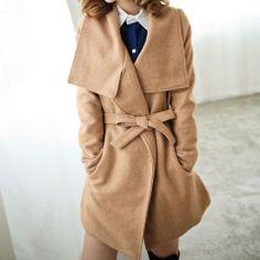 Price:$41.99 Color: Camel / Red Material: Tweed Red Winter Slim All Match Lapel Woolen Tweed Coat Overcoat