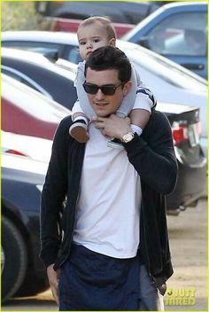 Orlando Bloom with his son Flynn