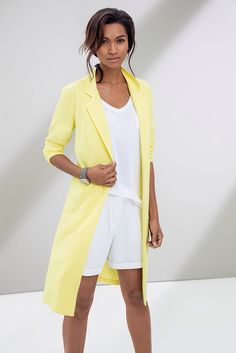 Melt into yellow. White Tee and linen shorts worn with a yellow duster. Things To Buy, Stuff To Buy, Linen Shorts, Ss 15, White Tees, Space, Yellow, Summer, Clothes