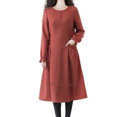 retro orange wool dress loose women dress flouncing by ideacloth