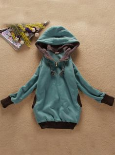 Green Zipper Hooded Sweatshirt$37.00