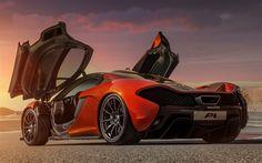 Scarica sfondi McLaren P1, British hypercar, vista posteriore, auto sportive, arancione, nero, P1, McLaren