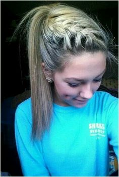 French braid pulled back into a pony