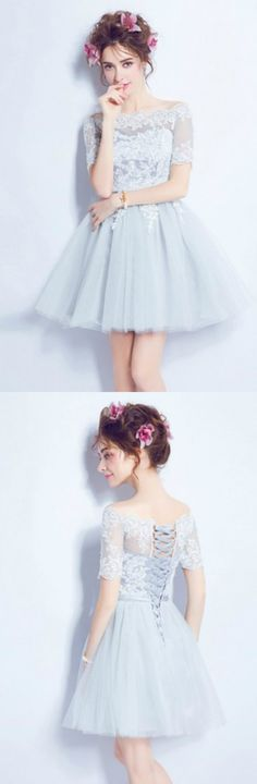 Blue A-line Off-the-shoulder Short Tulle Formal Dress Homecoming Dress Prom Dress With Appliques Lace