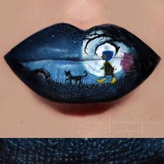 Stunning lip art by @jessiiistephiii ・・・ LIP ART OF THE DAY Okay so i was gona wait til October 1st to start my halloween inspired lip art but i couldn't wait to show you guys my first one i am totally obsessed with it. @missjazminad inspired me to do lip art (if only i was half as good as her i hope she likes it) Inspired by one of my favorite movies (CAN YOU GUESS WHAT MOVIE?!?) ••••••••••••••••••••••••••••••••••••••• Used @anastasiabeverlyhill
