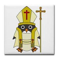 Mr Penguin, Penguin, Cute, Funny, Cartoon, Bird, Goldfishdreams, Pope, Religious, Rome, Pontiff,