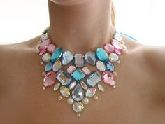 Sparkling Blue and Pink Cotton Candy Inspired Floating Rhinestone Statement Bib Necklace, Cute Kawaii Deco Loli Fashion Accessory. $26.99, via Etsy.