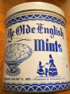 """Vintage """"Ye Olde English Mints"""" Candy Tin"""