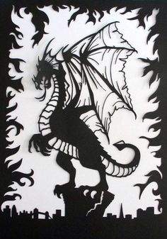 Paper cut art ~ Fantasy theme ~ Dragon ~ London skyline ~ fire emblem ~ mystical ~ mythical ~ beast ~ paper sculpture ~ Warcraft ~ clash by evescrafts on Etsy https://www.etsy.com/ca/listing/268198813/paper-cut-art-fantasy-theme-dragon