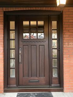 62 Ideas main door design craftsman style for 2019 Entry Door With Sidelights, Front Door Entryway, Wood Front Doors, Exterior Front Doors, Glass Front Door, Entry Doors, Brown Front Doors, Craftsman Style Front Doors, Craftsman Door