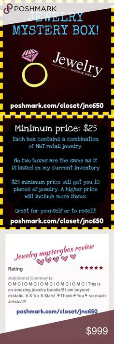 Name your price jewelry mystery box! Each box contains a combination of Boutique jewelry. No two boxes are the same as it is based on my current inventory. $25 minimum price will get you 10 pieces of jewelry. A higher price will include more items. Great for yourself or to resell!! Jewelry