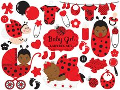 70% OFF SALE Baby Ladybug Clipart - Vector African American Ladybug Clipart, Baby Shower Clipart, Ladybird Clipart, Baby Ladybug Clip Art #clipart #vector #illustration #thecreativemill