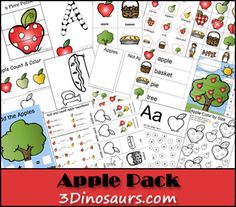 Apple activities for the classroom along with freebies that are purely apple-licious! You'll find cute Johnny Appleseed, science, crafts, poems and printables to complete your apple theme lesson plans. Preschool Apple Theme, Apple Activities, Fall Preschool, Letter Activities, Preschool Themes, Preschool Printables, Autumn Activities, Classroom Activities, Preschool Apples
