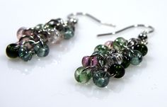 Chainmaille Earrings - Pink and Green Earrings - Dangle Earrings - Shaggy Loops Earrings - Stainless Steel Earrings - Jump Ring Jewelry by CreationsbyUli on Etsy https://www.etsy.com/listing/217179723/chainmaille-earrings-pink-and-green