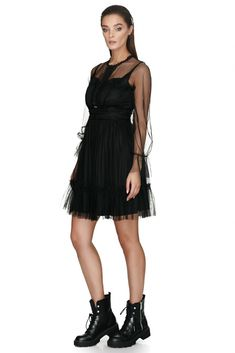 Perfect for your next cocktail party, this Vero Milano sheer black lace dress shows off a darling sweetheart neckline and alluring glimpses of skin underneath the full trumpet sleeves. Trumpet, Stylish Outfits, Dresses Online, Designer Dresses, Ruffles, Lace Dress, Cocktail, Spring Summer, Neckline