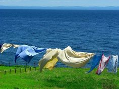 By the sea...nothing is any better than linens on the clothes line...
