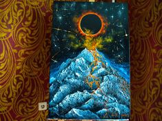 "Original oil painting "" Volcano "" 2019 Solar eclipse Mountains landscape oil painting on canvas mountain by Julia Makors / / Colorful Paintings, Your Paintings, Original Paintings, Volcano Pictures, Oil Painting On Canvas, Canvas Art, Fire Art, Sculpture Painting, Art Oil"