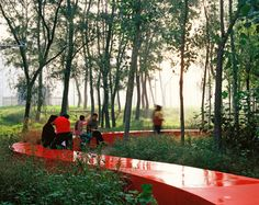 The stunning red ribbon bench of the Tanghe River Park, in Qinhuangdao City, China, by Turenscape, Chinese landscape architecture firm headed by Dr. Urban Landscape, Landscape Design, Chinese Landscape, Park Landscape, Landscape Plans, Garden Design, Boston Architectural College, Modernisme, River Park