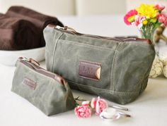Personalized cosmetic travel bag set in olive green