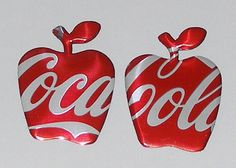 2 Apple Magnets Coca Cola Soda Can by SodaCanBuddies on Etsy