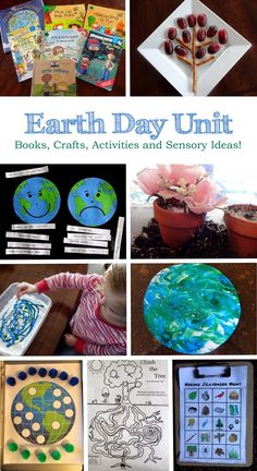 Earth Day Unit for kids! Books, crafts, snack, activities and a gardening sensory bin!