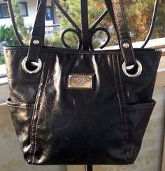 Relic-Brand-Collection-Lrg-Black-Brown-Stitching-Faux-Leather-Shoulder-Bag-Hobo