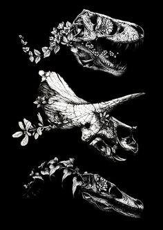 Jurassic Bloom on Behance Animes Wallpapers, Cute Wallpapers, Sketch Style, Dinosaur Wallpaper, Dinosaur Tattoos, Aquarell Tattoo, Tattoo Trend, Jurassic Park World, Jurassic Park Tattoo