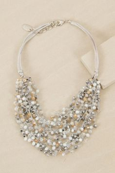 Silver Multi Strand Crystal Necklace