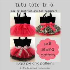 Tutu Bag Trio Tutorial  PDF Instructions for Three by SugarPieChic